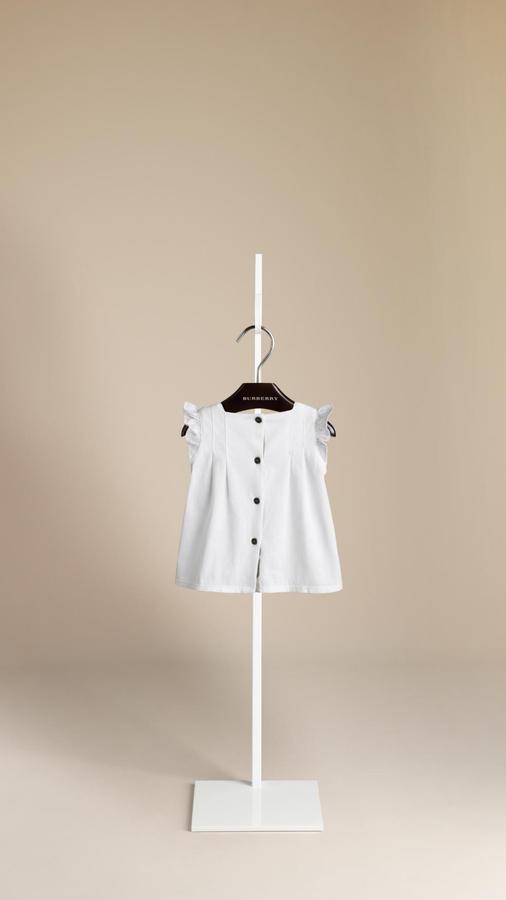 Burberry Ruffle Sleeve Cotton Top