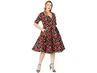 Unique Vintage Plus Size 1950s Delores Swing Dress with Sleeves