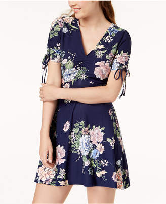Planet Gold Juniors' Floral Ruched Fit & Flare Dress