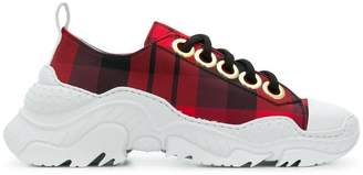 No.21 chunky sole check sneakers