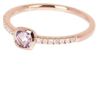 Bony Levy 18K Rose Gold Cushion Amethyst & Pave Diamond Detail Ring - 0.11 ctw