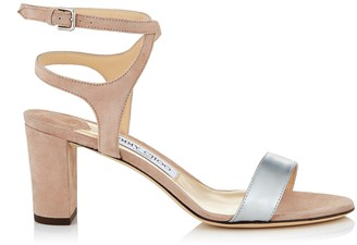 Jimmy Choo MARINE 65 Ballet Pink Suede and Silver Liquid Mirror Leather Sandals