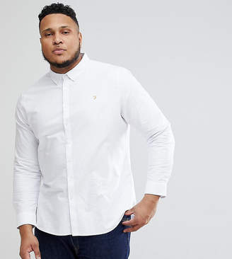 Farah PLUS Brewer Slim Fit Oxford Shirt in White