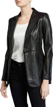 Elie Tahari Madison One-Button Leather Jacket