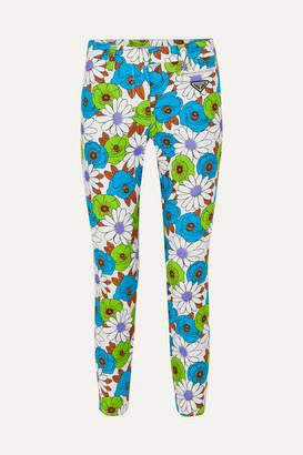 Prada Floral-print Cotton-blend Twill Skinny Pants - Green