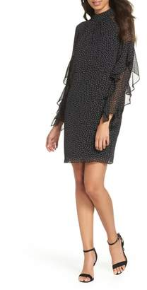 Maggy London Polka Dot Ruffle Sleeve Chiffon Dress