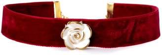 POPORCELAIN - Golden White Cloud Rose Red Velvet Choker
