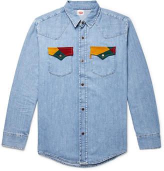 Levi's Corduroy-Trimmed Denim Western Shirt