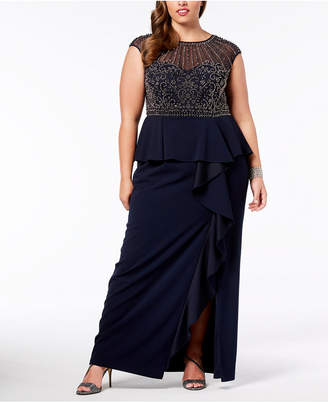 Xscape Evenings Plus Size Beaded Ruffled Gown