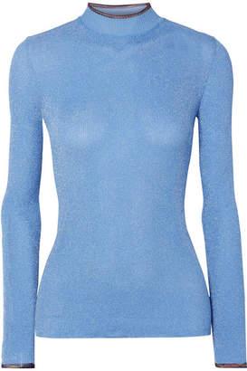 Missoni Metallic Stretch-knit Sweater - Light blue