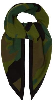 Burberry Camouflage Wool Blend Bandana Scarf - Womens - Khaki
