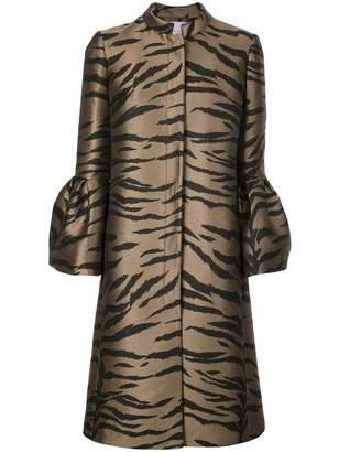 Carolina Herrera Bell Sleeve Cape Tiger Print A Line Coat