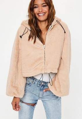 Missguided Cream Balloon Sleeve Faux Fur Coat