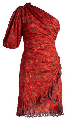 Etoile Isabel Marant Esther Embroidered Floral Print Asymmetric Dress - Womens - Red