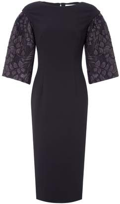 Amanda Wakeley Black Organza Cloque Jacquard Fitted Dress