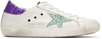 Golden Goose White Glitter Superstar Sneakers $460 thestylecure.com