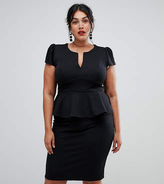 City Goddess Plus capped sleeve peplum dress