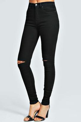 boohoo Sariah Black 5 Pocket Full Length Jeans
