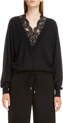 Chloé Plunging Lace Neck Wool & Silk Sweater