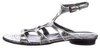 Stuart Weitzman Embossed Cutout Sandals