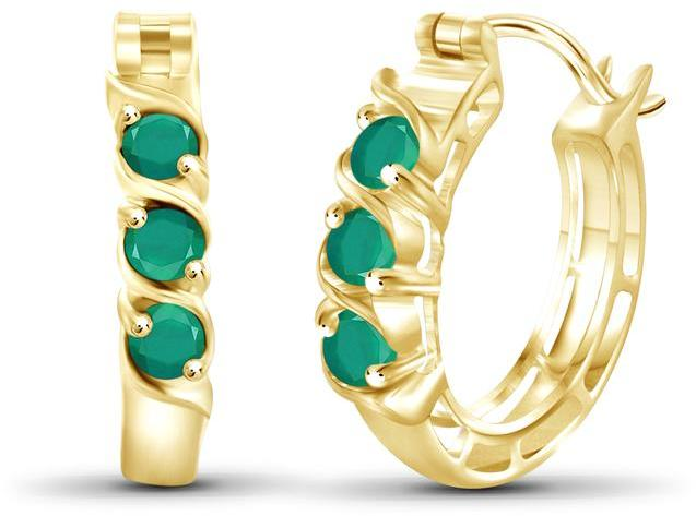 5/7 CT Emerald Gold-Plated Silver Twisted Design 3-Stone Hoop Earrings by JewelonFire