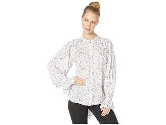 916dabb6a66983 BCBGMAXAZRIA Floral Blouse with Shirred Sleeve Detail
