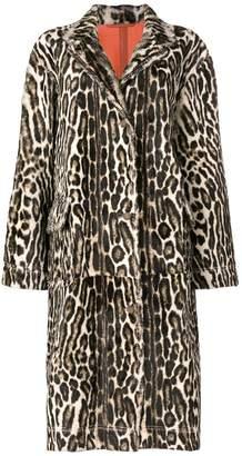 Calvin Klein long leopard print coat