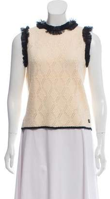 Chanel Ruffle-Trimmed Cashmere Top