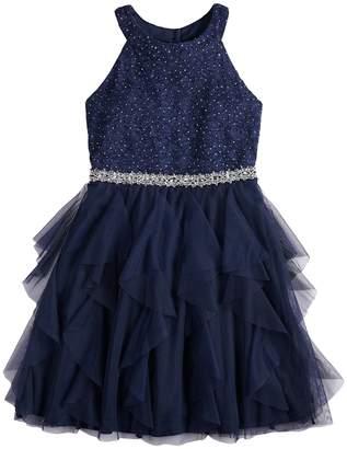 My Michelle Girls 7-16 Glitter Halter Lace Bodice Cork Screw Skirt Short Dress