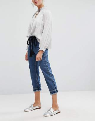 Current Air Cropped Straight Leg Jean with Scalloped Hems