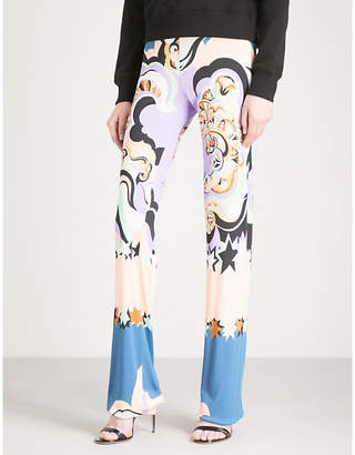 Emilio Pucci Printed high-rise straight silk-organza trousers