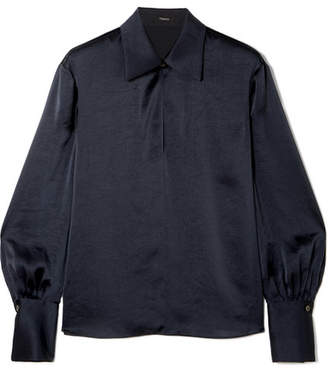 Theory Satin Blouse - Navy