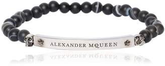 Alexander McQueen Logo Onyx Beaded Bracelet