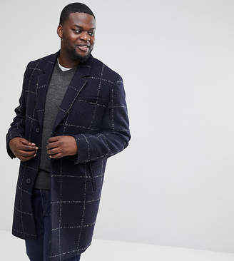 Asos DESIGN Plus checked wool mix overcoat in navy