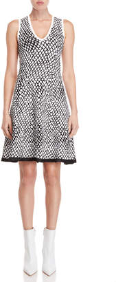 Derek Lam Printed Knit Fit & Flare Dress