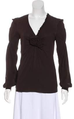 Dolce & Gabbana Long Sleeve Silk Top