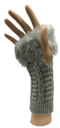 Haze Apparel Faux Fur Fingerless Gloves