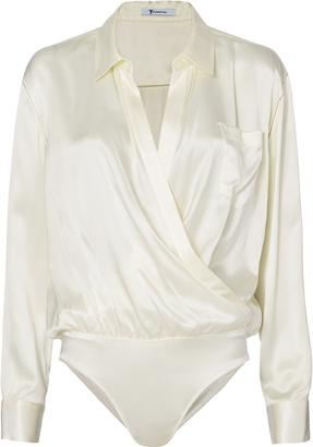 T by Alexander Wang Ivory Silk Shirt Bodysuit $395 thestylecure.com