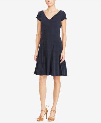 Lauren Ralph Lauren V-Neck Fit & Flare Dress $145 thestylecure.com