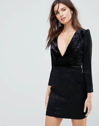 Free People Naomi Shoulder Padded Velvet Mini Dress