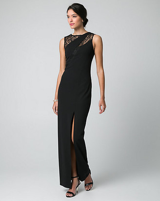 Le Château Lace & Knit Crepe Scoop Neck Gown