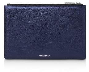 Whistles Small Metallic Leather Clutch