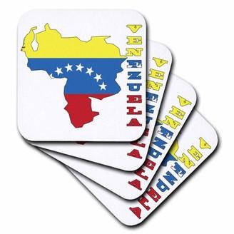 3dRose Venezuelan flag in outline map and letters of Venezuela, Soft Coasters, set of 8