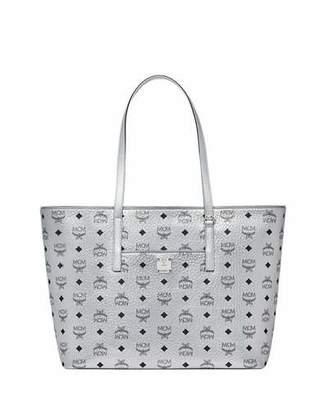 MCM Anya Medium Metallic Visetos Zip Shopper Tote Bag