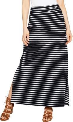 Susan Graver Weekend Striped Cotton Modal Maxi Skirt - Petite
