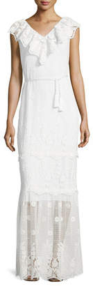 Miguelina Audrey Mixed-Lace Maxi Dress