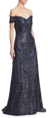 Rene Ruiz Off-The-Shoulder Sequin Gown