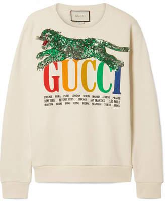 741b88b08f8 Gucci Oversized Embellished Printed Cotton-terry Sweatshirt - Ecru