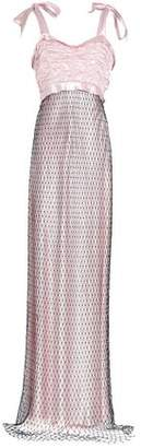 Maison Margiela Mesh-Layered Ruched Satin Gown