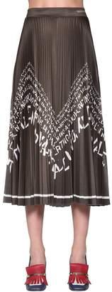 Valentino Logo Printed Pleated Jersey Skirt
